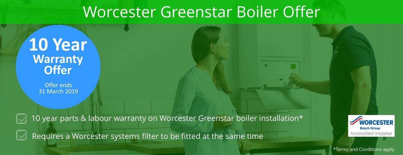OFFER TIL 31ST MAR 2019, 10 year warranty available with Worcester Greenstar Boilers when a systems filter is fitted.