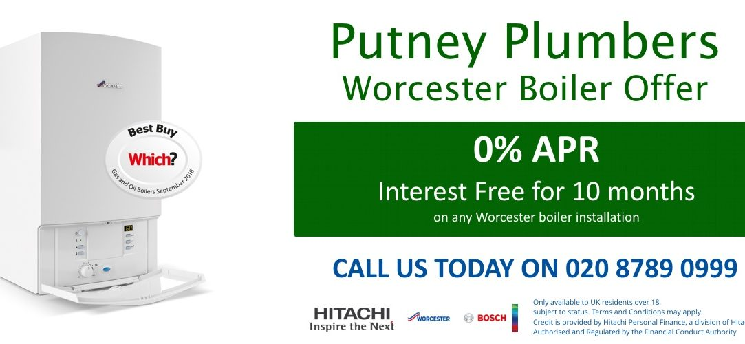 0% APR 10 month interest free finance offer from Putney Plumbers for new Worcester Boilers