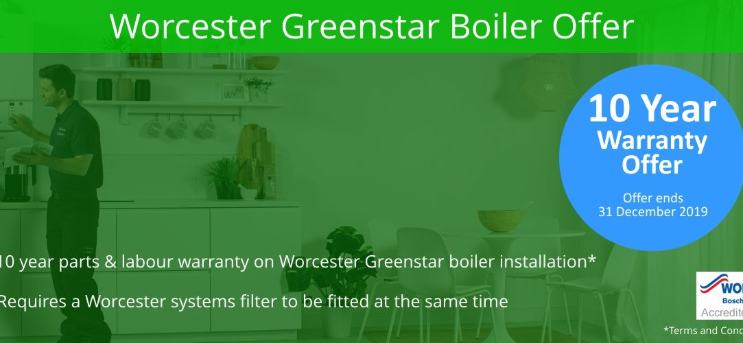 OFFER TIL 31ST DEC 2019, 10 year warranty available with Worcester Greenstar Boilers when a systems filter is fitted.