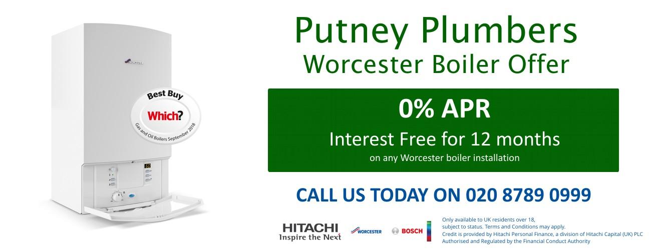 0% APR 12 month Putney Plumbers Worcester Bosch offer finance offer image